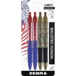 Zebra Pen Orbitz Patriotic Collection Ballpoint Pens - Medium Pen Point - 1 mm Pen Point Size - 4 / Pack