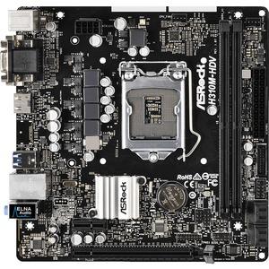 ASRock H310M-HDV Desktop Motherboard - Intel Chipset - Socket H4 LGA-1151 -  32 GB DDR4 SDRAM Maximum RAM - UDIMM, DIMM - 2 x Memory Slots - Gigabit