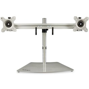 StarTech.com Dual-Monitor Stand - Horizontal - For up to 24And#34; VESA Mount Monitors - Silver - Adjustable Computer Monitor Stand for Desk - Steel Andamp; Aluminum - Up to 61