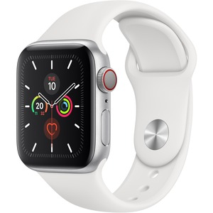 Apple Watch Series 5 Smart Watch - Wrist Wearable - Silver Aluminum Case - White Band - Aluminium Case - Cellular Phone Capability - LTE, UMTS