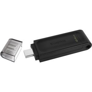 Kingston DataTraveler 70 64 GB USB 3.2 Gen 1 Type C Flash Drive - Black