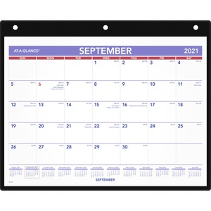 """At-A-Glance Academic Monthly Desk/Wall Calendar with Poly Holder - Julian - Monthly - September 2018 till December 2019 - 1 Month Single Page Layout - 11"""" x 8 1/4"""" - Wall Moun"""