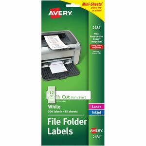 Avery® Mini-Sheets Permanent File Folder Labels - Permanent