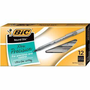 BIC Round Stic Ballpoint Pens - Fine Pen Point - Black - Frost Barrel - 1 Dozen