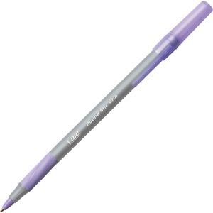 BIC Round Stic Grip Ballpoint Pen - Medium Pen Point - Purple - Frost Barrel - 1 Dozen