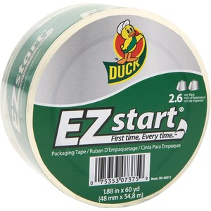 """Duck Brand Brand EZ START Packaging Tape - 1.88"""" Width x 60 yd Length - 3"""" Core - 2.60 mil - Non-yellowing - 1 Roll - Clear"""