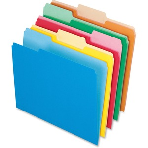 """Pendaflex Two-tone Color File Folders - Letter - 8 1/2"""" x 11"""" Sheet Size - 1/3 Tab Cut - Assorted Position Tab Location - 11 pt. Folder Thickness - Assorted - 100 / Box"""