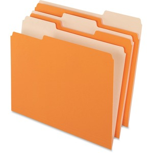 "Pendaflex Two-tone Color File Folders - Letter - 8 1/2"" x 11"" Sheet Size - 1/3 Tab Cut - Assorted Position Tab Location - 11 pt. Folder Thickness - Orange - 100 / Box"
