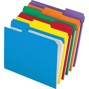 """Pendaflex Color Reinforced Top File Folders - Letter - 8 1/2"""" x 11"""" Sheet Size - 1/3 Tab Cut - Assorted Position Tab Location - 11 pt. Folder Thickness - Assorted - 100 / Box"""