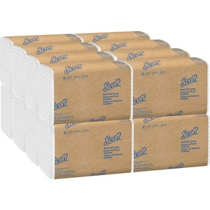 """Scott MultiFold Paper Towels - 9.50"""" x 9.40"""" - White - Recyclable, Absorbent - 250 Sheets Per Pack - 4000 / Carton"""