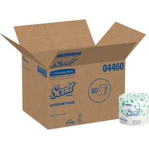 """Scott 2ply Standard Roll Bath Tissue - 2 Ply - 4"""" x 4.10"""" - 550 Sheets/Roll - White - Absorbent - 80 / Carton"""