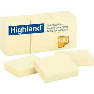 """Highland Self-Sticking Note Pads - 1200 - 1.50"""" x 2"""" - Rectangle - 100 Sheets per Pad - Unruled - Yellow - Paper - Self-adhesive, Repositionable - 12 / Pack"""