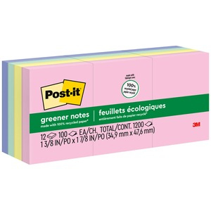 """Post-it Greener Notes, 1.5 in x 2 in, Helsinki Color Collection - 1200 - 1.50"""" x 2"""" - Rectangle - 100 Sheets per Pad - Unruled - Assorted - Paper - Self-adhesive, Repositionab"""
