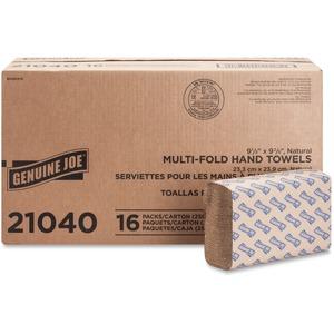 "Genuine Joe Multifold Natural Towels - 1 Ply - 9.25"" x 9.40"" - Natural - Chlorine-free - For Restroom, Public Facilities - 250 Sheets Per Pack - 4000 / Carton"