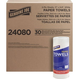 """Genuine Joe 2-Ply Household Roll Paper Towels - 2 Ply - 8.80"""" x 11"""" - 80 Sheets/Roll - White - Perforated - For Food Service - 30 / Carton"""