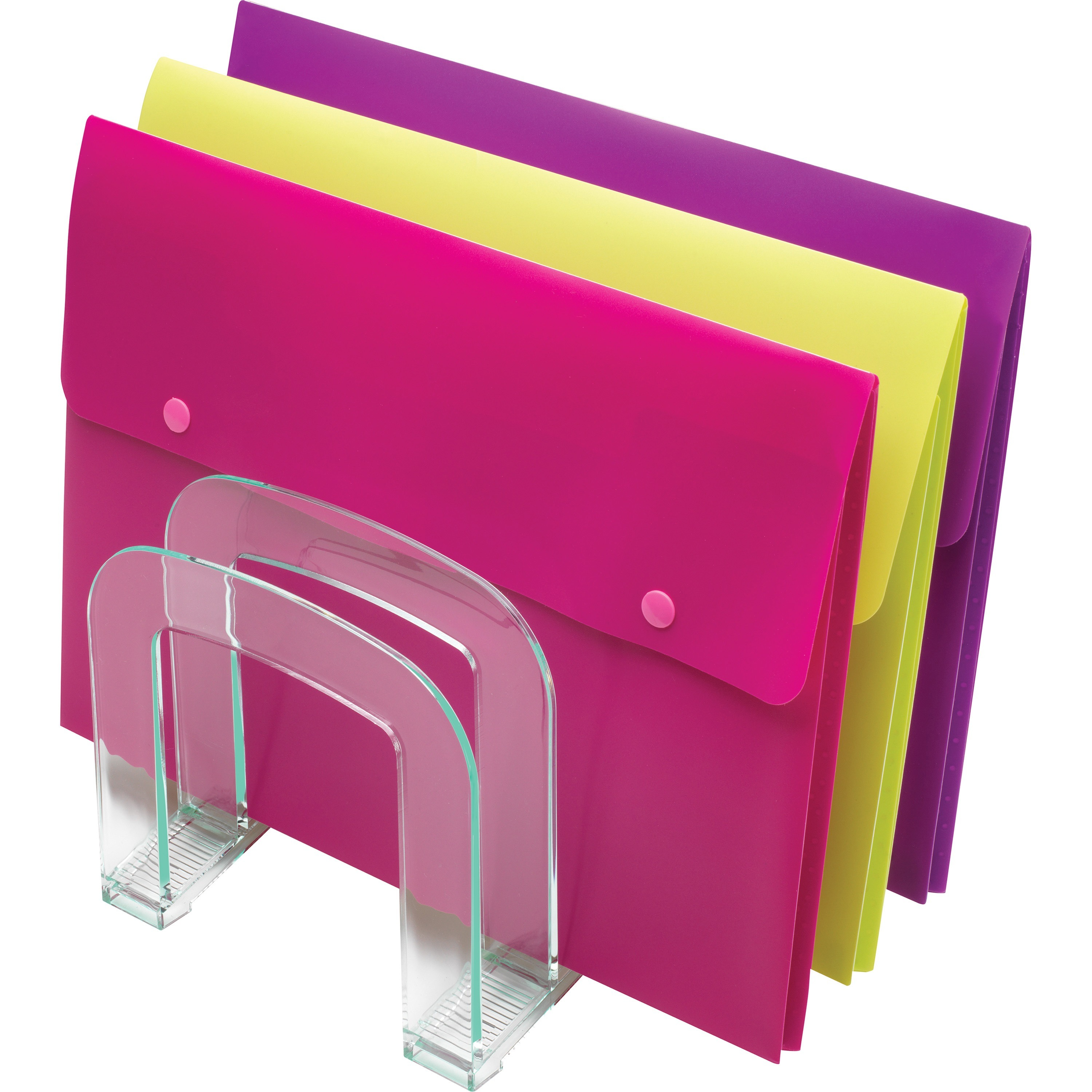 Lorell Stacking Letter Trays - Desktop - Clear, Green - Acrylic - 2 ...