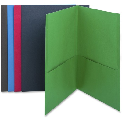 "Business Source Two-Pocket Folders - Letter - 8 1/2"" x 11"" Sheet Size - 125 Sheet Capacity - 2 Internal Pocket(s) - Paper - Assorted - 2.20 lb - Recycled - 25 / Box"