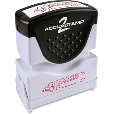 "AccuStamp2 Pre-Inked Red Shutter ""FAXED"" Stamp, 1 5/8"" x 1/2"" COS035583"