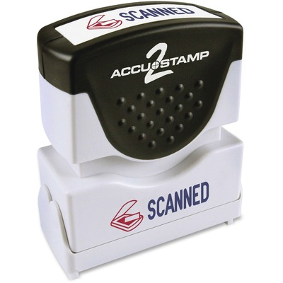 "AccuStamp2 Pre-Inked 2 Color Shutter Stamp ""SCANNED"", Blue/Red, 1 5/8"" x 1/2"" COS035606"