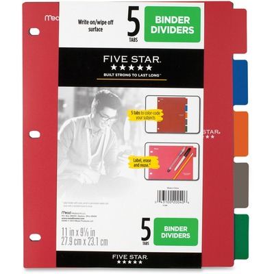 """Five Star Multicolor 5-tab Binder Dividers - 5 x Divider(s) - 9.1"""" Divider Width x 11"""" Divider Length - 8 1/2"""" Width x 11"""" Length - 3 Hole Punched - Red Plastic, Blue, Orange, Purple, Green Divider - 1 Pack"""