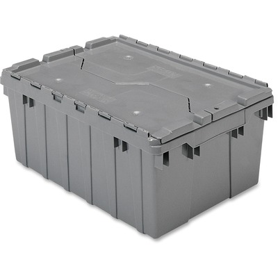 """Akro-Mils Attached Lid Storage Container - Internal Dimensions: 8.63"""" Height - External Dimensions: 21.5"""" Length x 15"""" Width x 9"""" Height - 35 lb - 8 gal - Padlock, String/Button Tie Closure - Stackable - Plastic - Gray - For File - 1 Each"""
