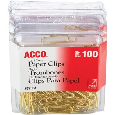 Acco Gold Tone Paper Clips, No. 2 - 100 Clips/Box, 4 Boxes/Carton ACC72554