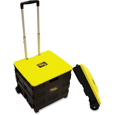 """dbest Rolling Quik Cart - Internal Dimensions: 15"""" Length x 14"""" Width x 14"""" Height - External Dimensions: 21"""" Length x 19"""" Width x 19"""" Depth x 20"""" Height - 80 lb - Lid Lock Closure - Plastic, Aluminum - Black, Yellow - For Grocery, Office Supplies, Laundr"""