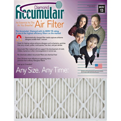 "Accumulair Diamond Air Filter 24"" Height x 24"" Width x 1"" Depth FLNFD24X244"