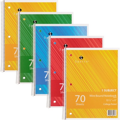 "Sparco Wire Bound College Ruled Notebook - 70 Sheets - Wire Bound Red Margin - 16 lb Basis Weight - 8"" x 10 1/2"" - Bright White Paper - Assorted Cover - Chipboard Cover - Subject, Stiff-cover, Stiff-back, Perforated, Hole-punched - 5 / Bundle"
