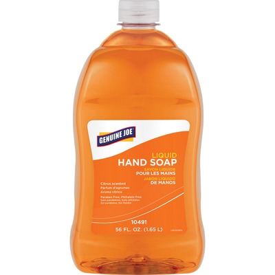 Genuine Joe Citrus Scented Liquid Hand Soap - Citrus Scent - 56 fl oz (1656.1 mL) - Hand - Orange - Paraben-free, Phthalate-free - 4 / Carton