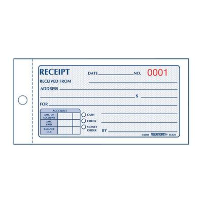 ₪₪: Rediform Money Receipt, Carbonless, 2 Parts, 2-3/4×5, 50/BK ...