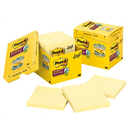 Post-it Super Sticky Notes Cabinet Pack, 4 in x 4 in , Canary Yellow, Lined