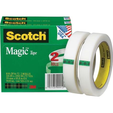 "Scotch® Magic™ Tape, 3/4"" x 2,592"", 2 Boxes/Pack, 3"" Core MMM8102P3472"