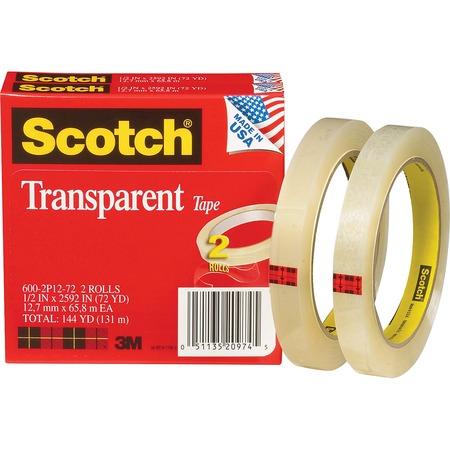 "Scotch® Transparent Tape, 1/2"" x 2592"" MMM6002P1272"
