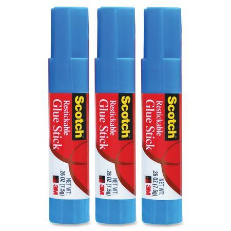 Scotch® Restickable Glue Stick, .26 oz, 3-Pack MMM63073-BULK