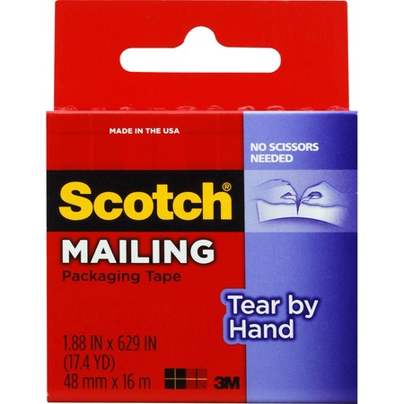 """Scotch® Tear-By-Hand Mailing Packaging Tape, 1.88"""" x 52.5 Yds MMM3841"""
