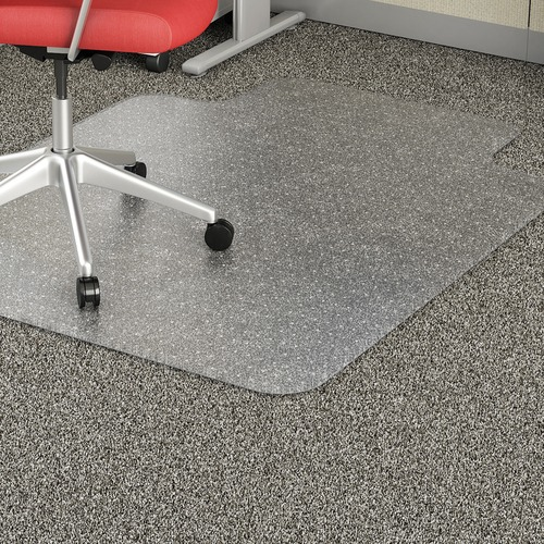 """Lorell Low Pile Wide Lip Economy Chairmat - Carpeted Floor - 53"""" Length x 45"""" Width x 95 mil Thickness - Lip Size 12"""" Length x 25"""" Width - Vinyl - Clear"""