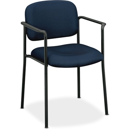 HON Scatter Stacking Guest Chair, Fixed Arms, Fabric, Navy Blue/Black 357593