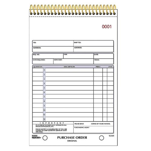 Rediform Gold Standard Purchase Order Book Wire Bound 2 Part – Standard Purchase Order Form