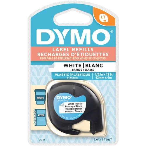 DYMO LetraTag Labeling Tape White Plastic Tape 1//2/'/' Wide 13 Feet Long Lot Of 4