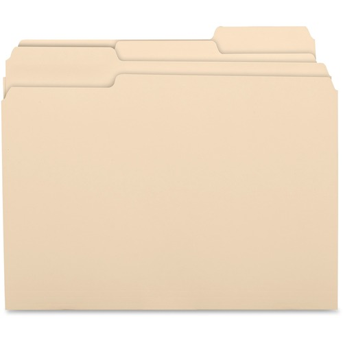 "Business Source 1/3 Cut 1-ply Top Tab Manila Folders - Letter - 8 1/2"" x 11"" Sheet Size - 3/4"" Expansion - 1/3 Tab Cut - Assorted Position Tab Location - 11 pt. Folder Thickne"