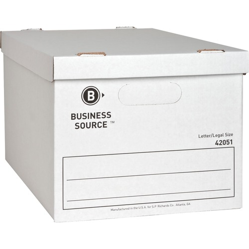 "Business Source Economy Storage Box with Lid - External Dimensions: 12"" Width x 15"" Depth x 10""Height - 350 lb - Media Size Supported: Legal, Letter - Light Duty - Stackable -"