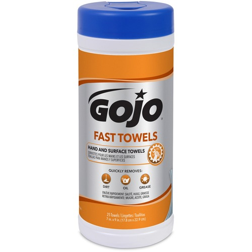 Gojo Fast Towels Hand/Surface Cleaner - Towel - 25 / Canister - 25 / Each