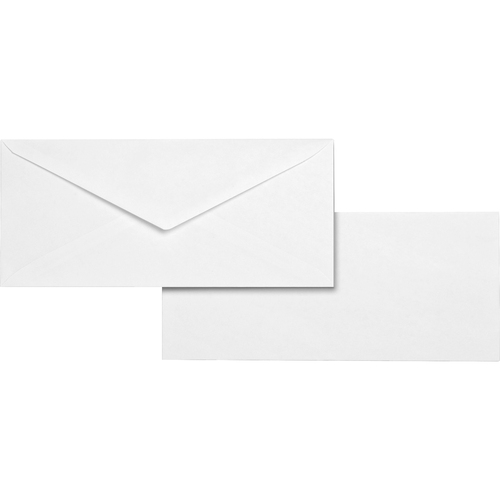 "Business Source No. 10 White Wove V-Flap Business Envelopes - Business - #10 - 9 1/2"" Width x 4 1/8"" Length - 24 lb - Gummed - Wove - 500 / Box - White"
