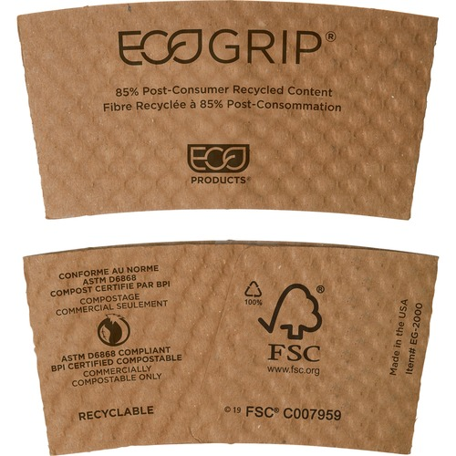 EcoGrip Hot Cup Sleeves - Renewable & Compostable, 1300/CT EG2000