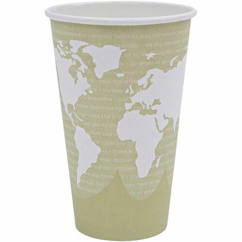World Art Renewable Compostable Hot Cups, 16 oz., 50/PK, 20 PK/CT EPBHC16WA