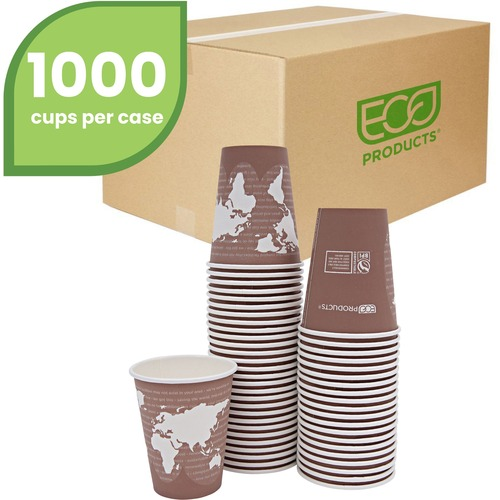 World Art Renewable Compostable Hot Cups, 8 oz., 50/PK, 20 PK/CT EPBHC8WA