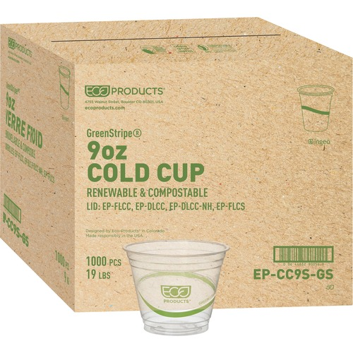 GreenStripe Renewable & Compostable Cold Cups - 9oz., 50/PK, 20 PK/CT EPCC9SGS