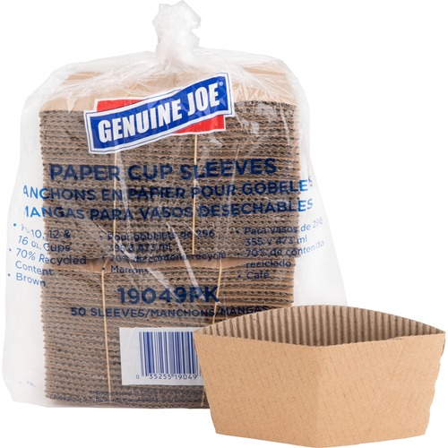 Genuine Joe Protective Corrugated Hot Cup Sleeves 19049pk