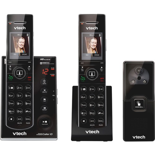 Longstanding Dect Expandable Cordless Phone Audio Video Doorbell Answering System Black Handsets Video